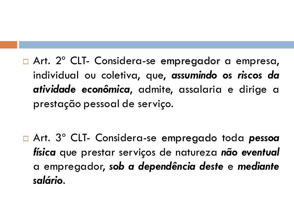 empregador Art. 2º CLT- Considera-se empregador a empresa, individual ou coletiva, que, assumindo os riscos da atividade econômica, admite, assalaria