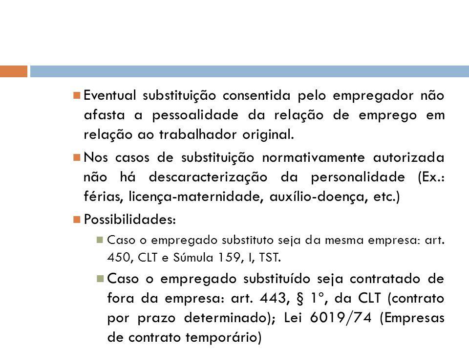 Eventual substituição consentida pelo empregador não afasta a pessoalidade da relação de emprego em relação ao trabalhador original. Nos casos de subs