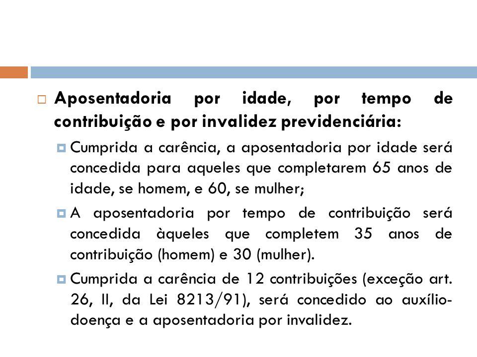 Aposentadoria por idade, por tempo de contribuição e por invalidez previdenciária: Cumprida a carência, a aposentadoria por idade será concedida para