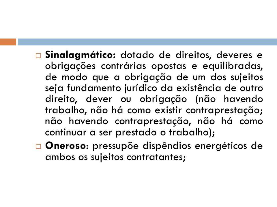 Sinalagmático: dotado de direitos, deveres e obrigações contrárias opostas e equilibradas, de modo que a obrigação de um dos sujeitos seja fundamento