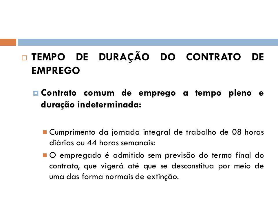 TEMPO DE DURAÇÃO DO CONTRATO DE EMPREGO Contrato comum de emprego a tempo pleno e duração indeterminada: Cumprimento da jornada integral de trabalho d
