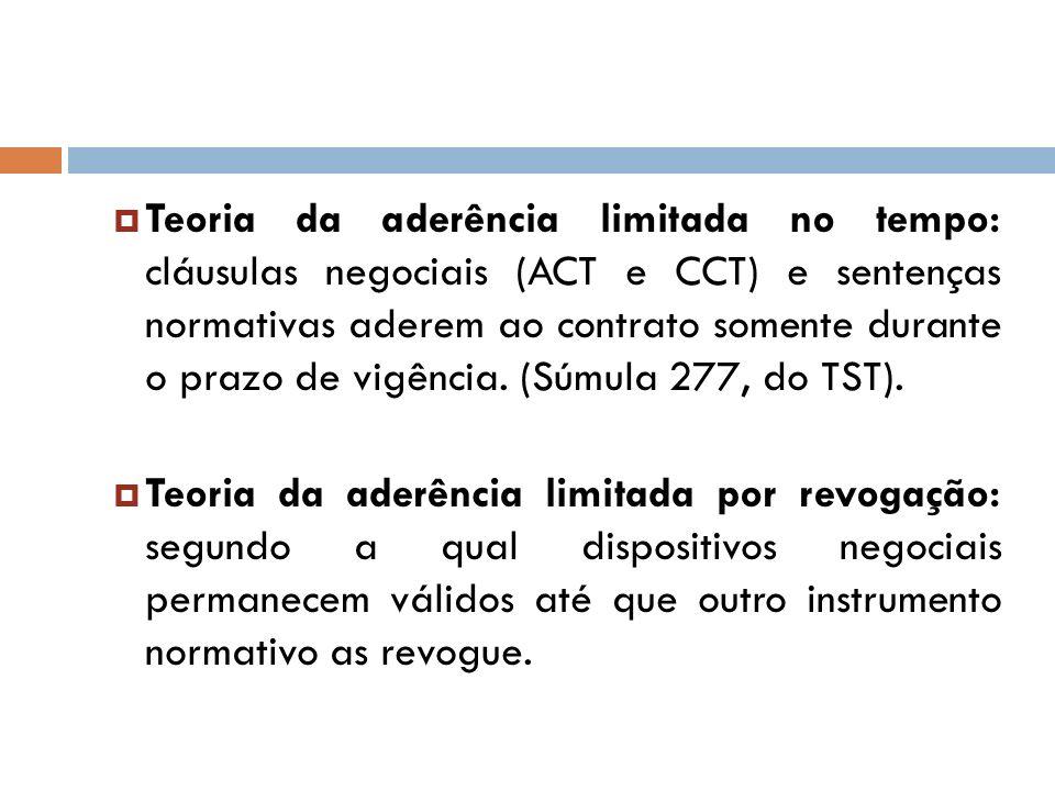 Teoria da aderência limitada no tempo: cláusulas negociais (ACT e CCT) e sentenças normativas aderem ao contrato somente durante o prazo de vigência.
