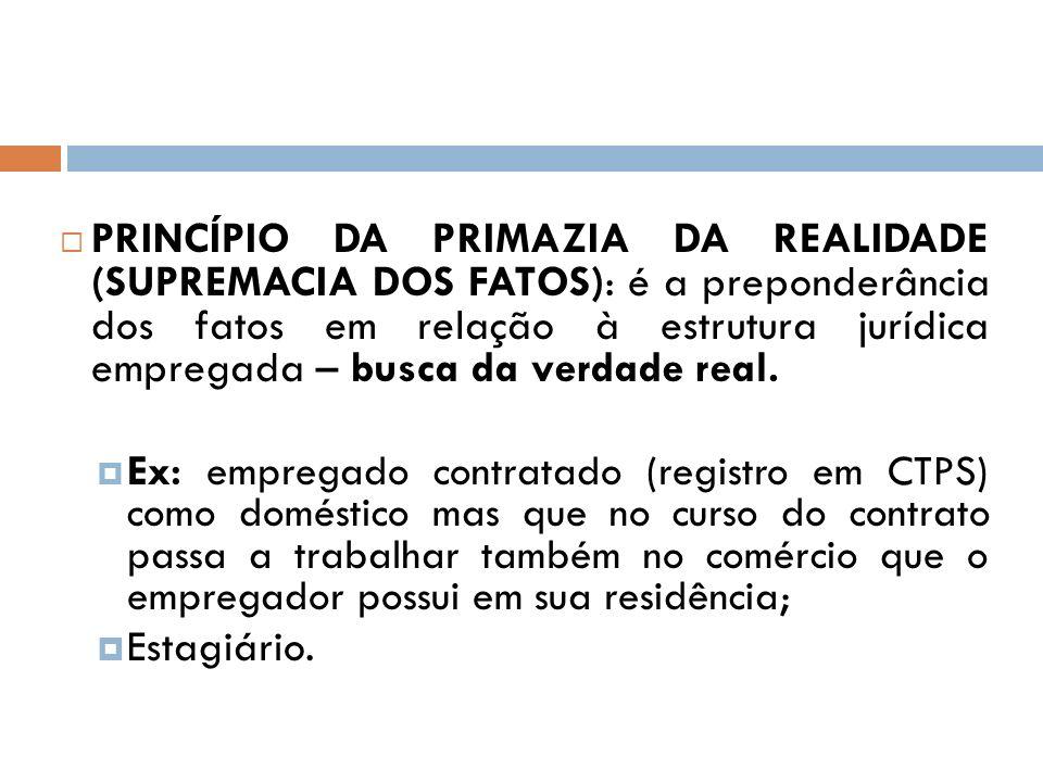 PRINCÍPIO DA PRIMAZIA DA REALIDADE (SUPREMACIA DOS FATOS): é a preponderância dos fatos em relação à estrutura jurídica empregada – busca da verdade r
