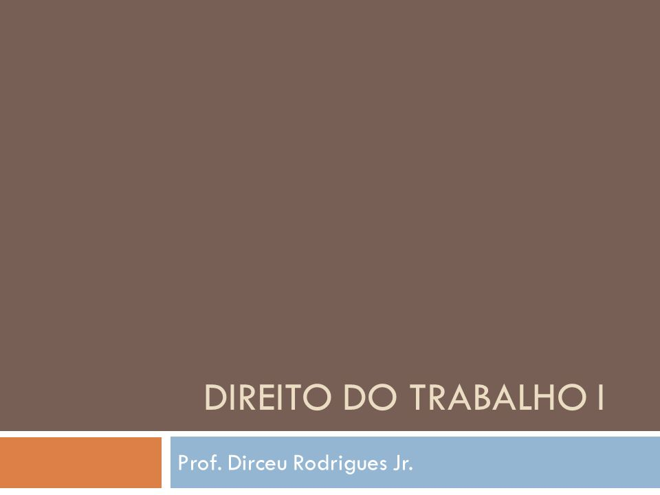 DIREITO DO TRABALHO I Prof. Dirceu Rodrigues Jr.