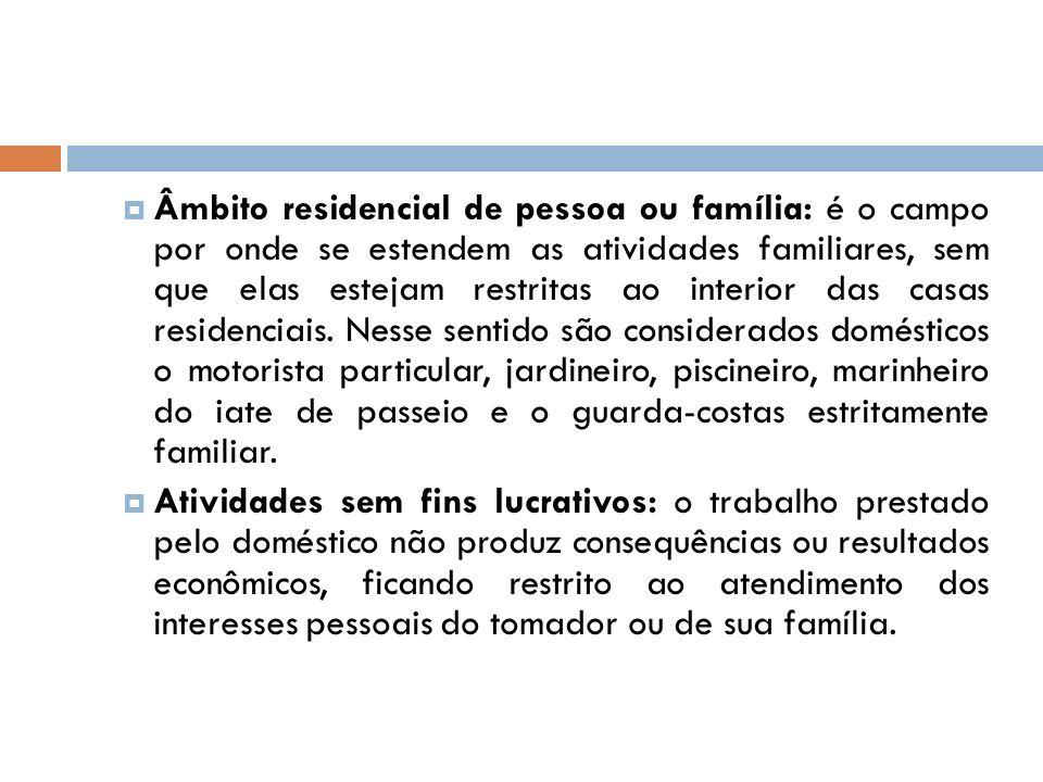 Âmbito residencial de pessoa ou família: é o campo por onde se estendem as atividades familiares, sem que elas estejam restritas ao interior das casas