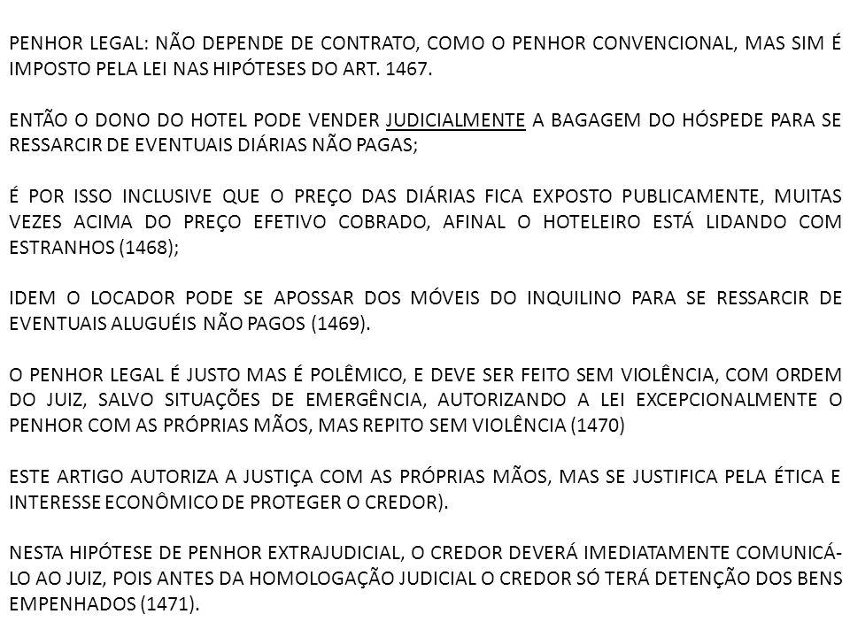 PENHOR LEGAL: NÃO DEPENDE DE CONTRATO, COMO O PENHOR CONVENCIONAL, MAS SIM É IMPOSTO PELA LEI NAS HIPÓTESES DO ART. 1467. ENTÃO O DONO DO HOTEL PODE V