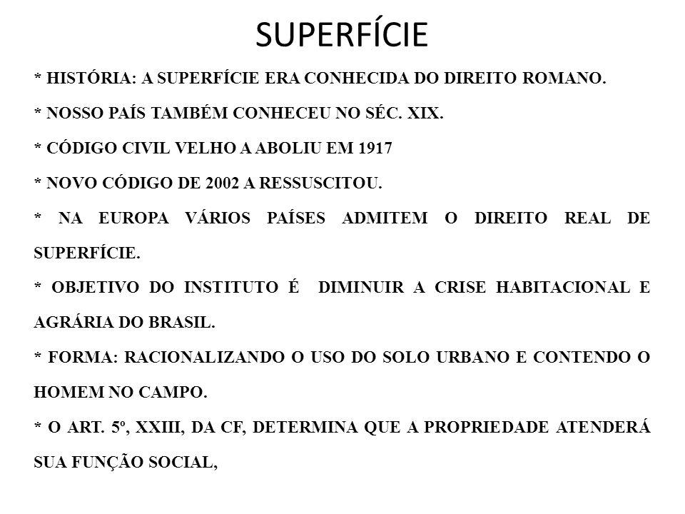 SUPERFÍCIE * HISTÓRIA: A SUPERFÍCIE ERA CONHECIDA DO DIREITO ROMANO. * NOSSO PAÍS TAMBÉM CONHECEU NO SÉC. XIX. * CÓDIGO CIVIL VELHO A ABOLIU EM 1917 *