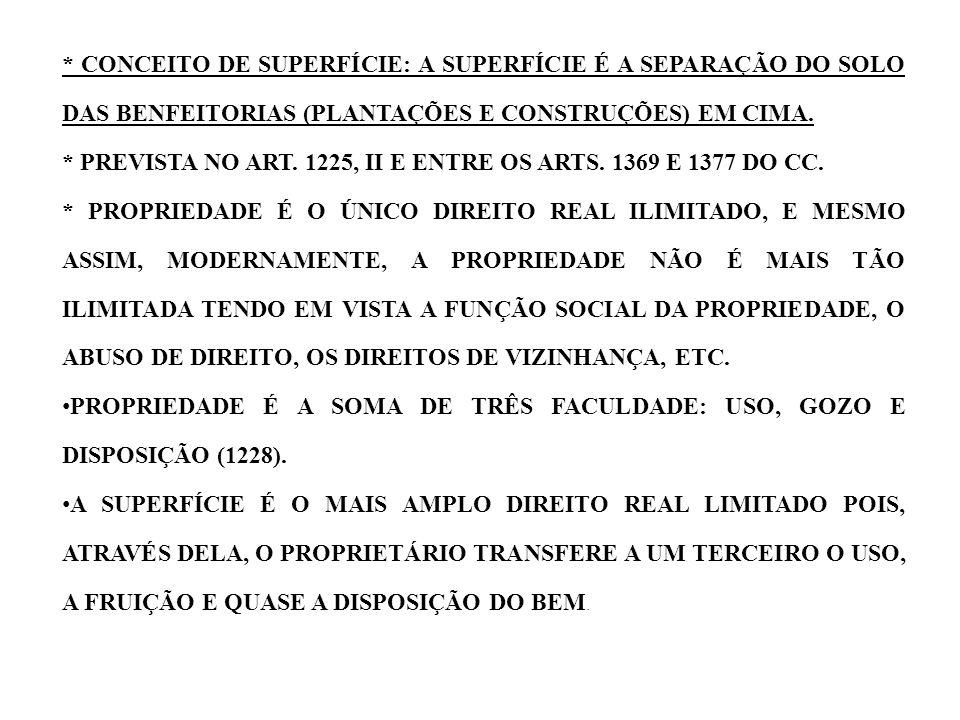 * CONCEITO DE SUPERFÍCIE: A SUPERFÍCIE É A SEPARAÇÃO DO SOLO DAS BENFEITORIAS (PLANTAÇÕES E CONSTRUÇÕES) EM CIMA. * PREVISTA NO ART. 1225, II E ENTRE
