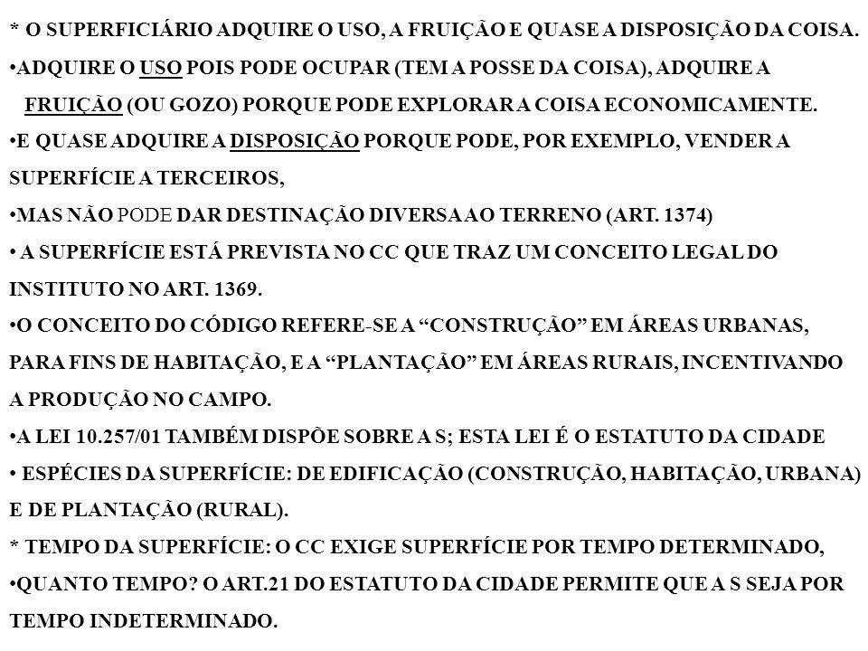 * LIMITE: A SUERFÍCIE ABRANGE PARTE DO SUBSOLO E O ESPAÇO AÉREO DO TERRENO RAZOÁVEIS, ÚTEIS AO EXERCÍCIO, NOS MESMOS TERMOS DO NOSSO CONHECIDO 1229.