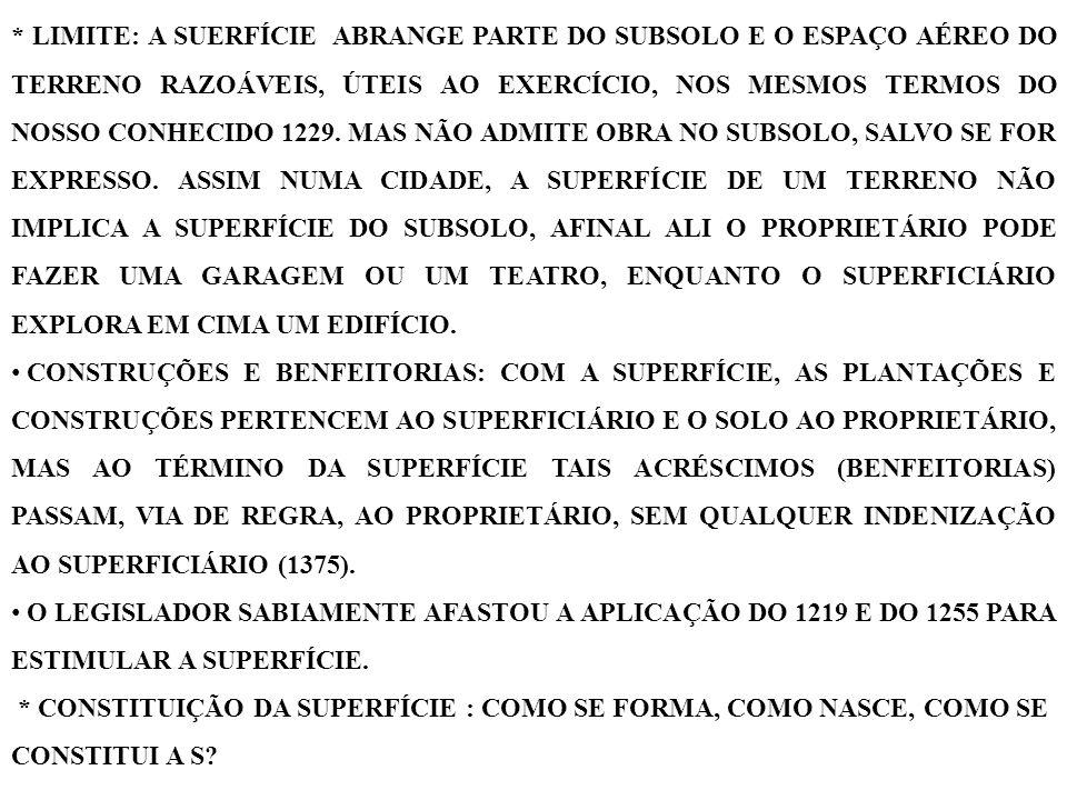 POR TRÊS MODOS: A) CONTRATO: O PROPRIETÁRIO E O SUPERFICIÁRIO INTERESSADOS CELEBRAM CONTRATO DE S, CONTRATO SOLENE VIA ESCRITURA PÚBLICA, NO CARTÓRIO DE NOTAS (1369 E 215, § 1º), NÃO PODENDO SER CONTRATO POR INSTRUMENTO PARTICULAR (REDIGIDO PELO ADVOGADO NO ESCRITÓRIO), MUITO MENOS VERBAL.