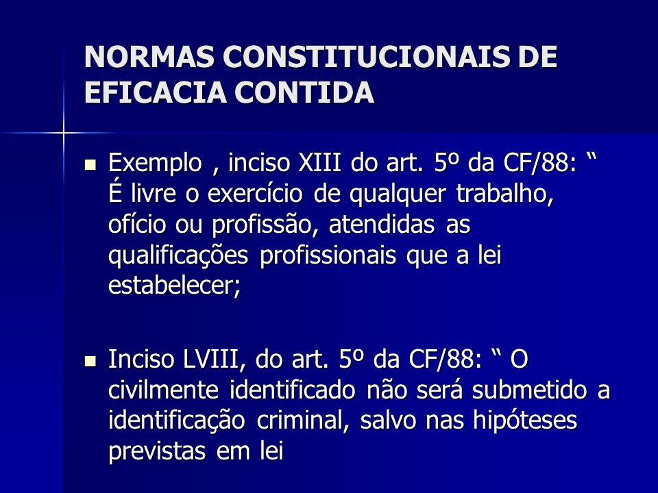 NORMAS CONSTITUCIONAIS DE EFICACIA CONTIDA Exemplo, inciso XIII do art. 5º da CF/88: É livre o exercício de qualquer trabalho, ofício ou profissão, at