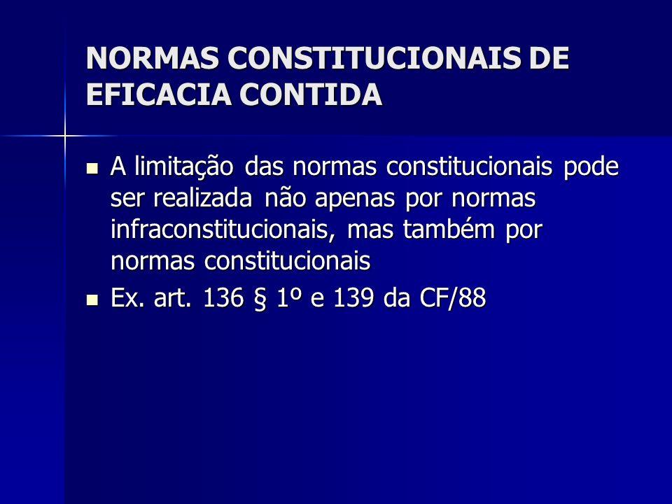 NORMAS CONSTITUCIONAIS DE EFICACIA CONTIDA A limitação das normas constitucionais pode ser realizada não apenas por normas infraconstitucionais, mas t