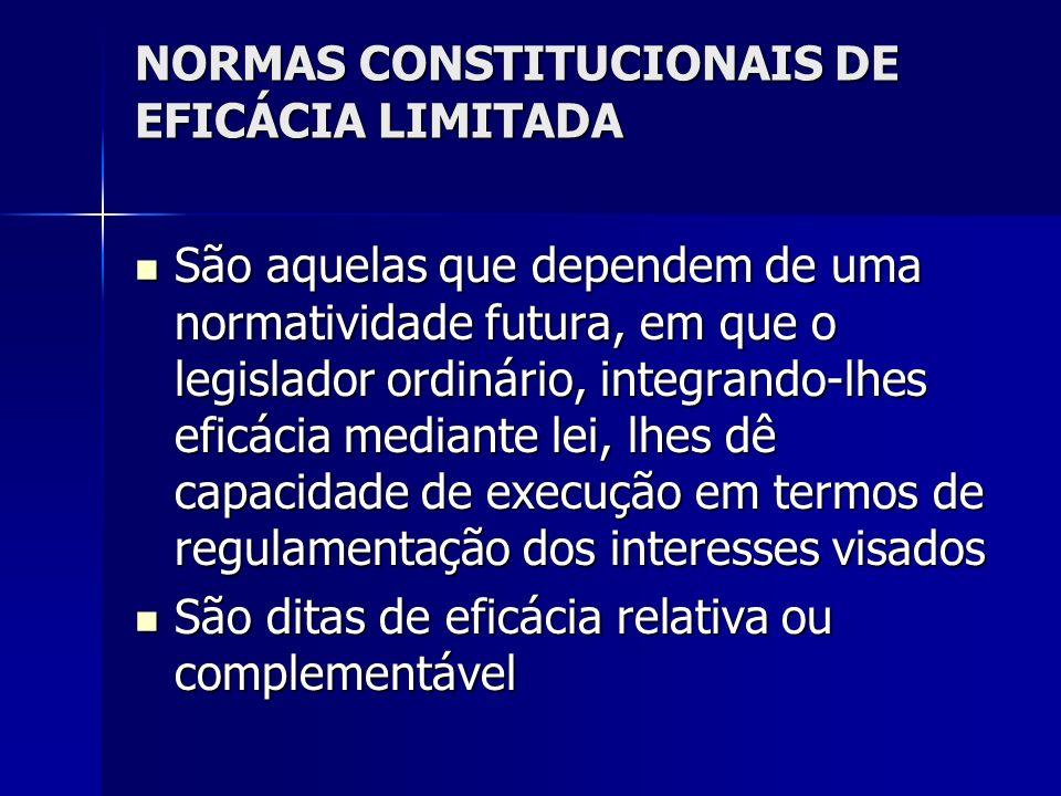 NORMAS CONSTITUCIONAIS DE EFICÁCIA LIMITADA São aquelas que dependem de uma normatividade futura, em que o legislador ordinário, integrando-lhes eficá