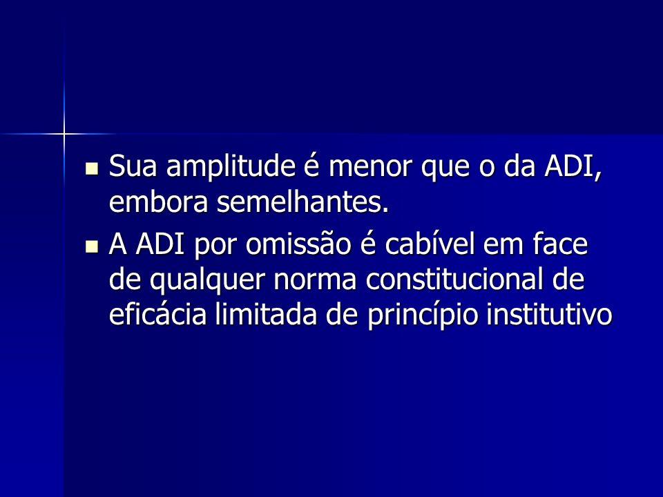 Sua amplitude é menor que o da ADI, embora semelhantes. Sua amplitude é menor que o da ADI, embora semelhantes. A ADI por omissão é cabível em face de