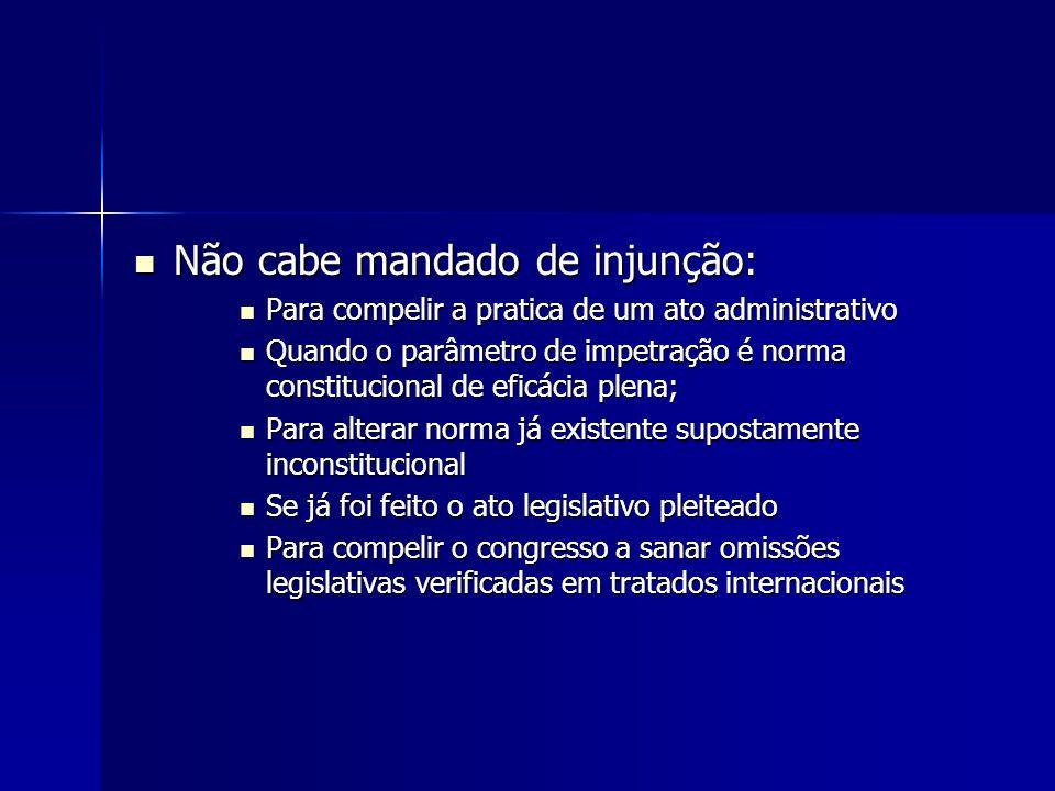 Não cabe mandado de injunção: Não cabe mandado de injunção: Para compelir a pratica de um ato administrativo Para compelir a pratica de um ato adminis