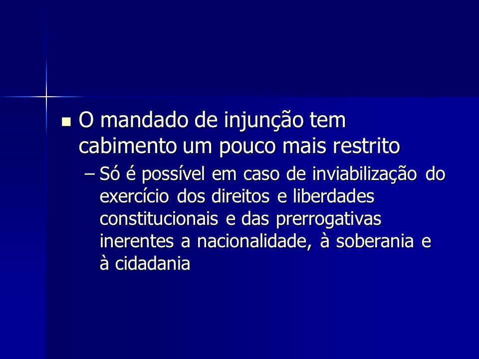O mandado de injunção tem cabimento um pouco mais restrito O mandado de injunção tem cabimento um pouco mais restrito –Só é possível em caso de inviab