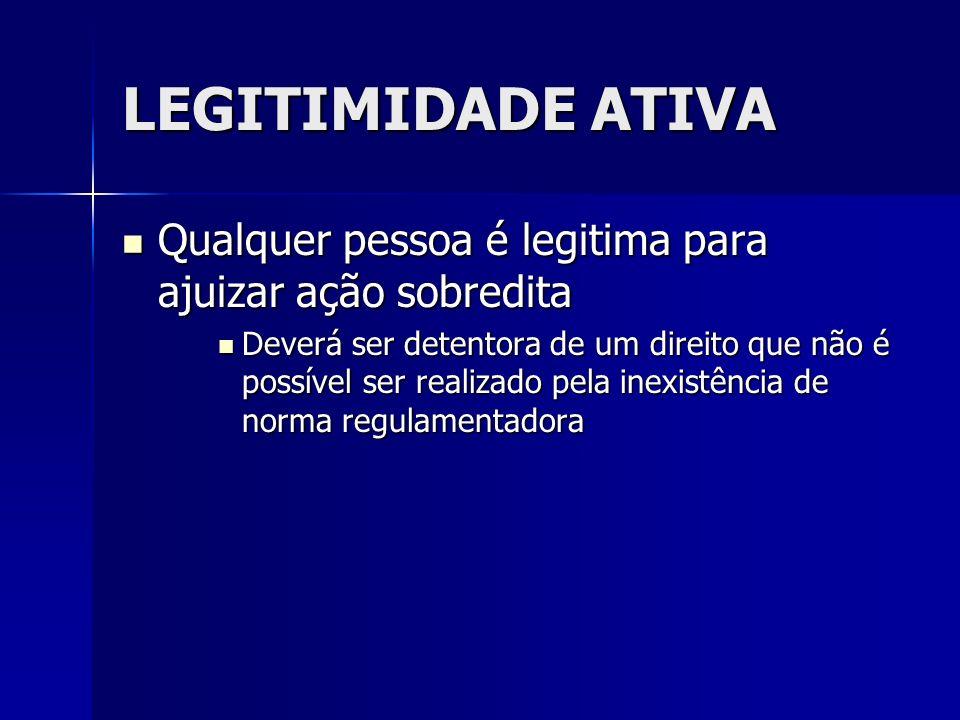LEGITIMIDADE ATIVA Qualquer pessoa é legitima para ajuizar ação sobredita Qualquer pessoa é legitima para ajuizar ação sobredita Deverá ser detentora