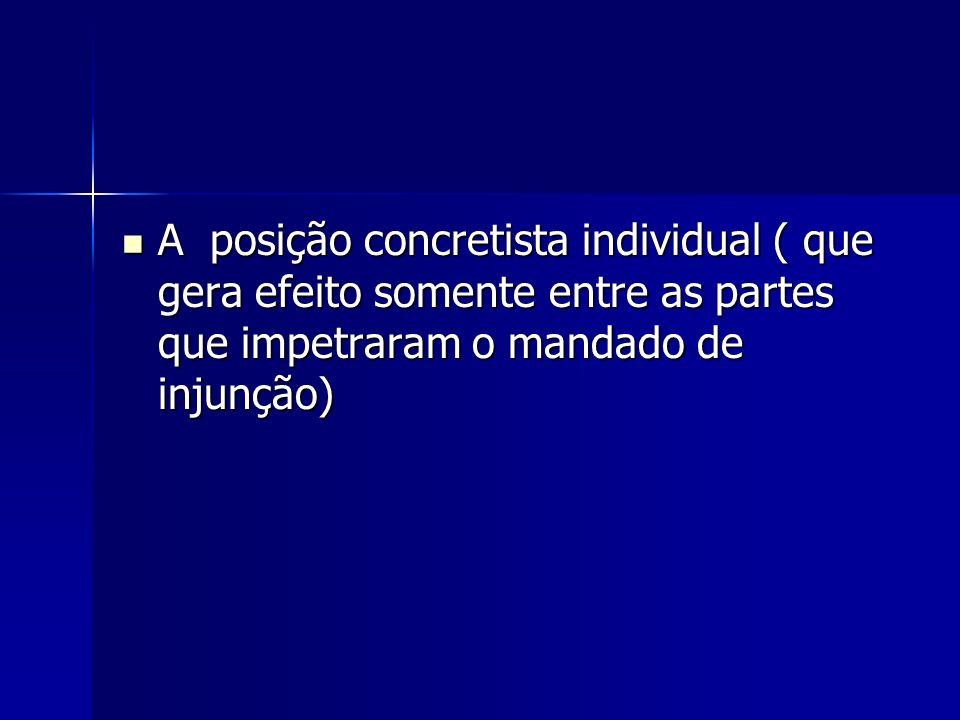 A posição concretista individual ( que gera efeito somente entre as partes que impetraram o mandado de injunção) A posição concretista individual ( qu