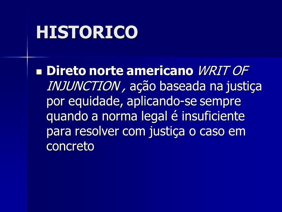 HISTORICO Direto norte americano WRIT OF INJUNCTION, ação baseada na justiça por equidade, aplicando-se sempre quando a norma legal é insuficiente par