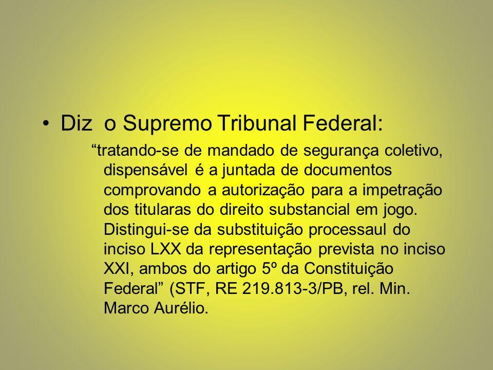Diz o Supremo Tribunal Federal: tratando-se de mandado de segurança coletivo, dispensável é a juntada de documentos comprovando a autorização para a impetração dos titularas do direito substancial em jogo.