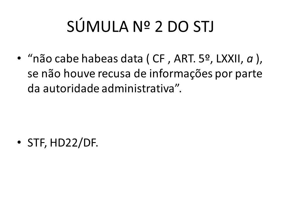 SÚMULA Nº 2 DO STJ não cabe habeas data ( CF, ART. 5º, LXXII, a ), se não houve recusa de informações por parte da autoridade administrativa. STF, HD2