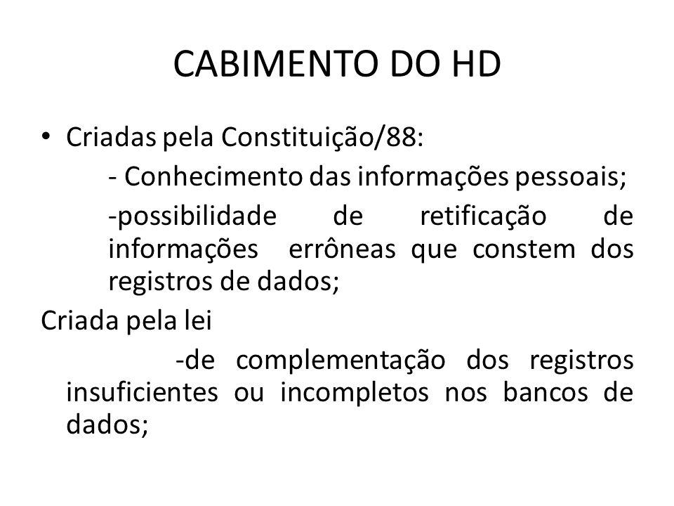 CABIMENTO DO HD Criadas pela Constituição/88: - Conhecimento das informações pessoais; -possibilidade de retificação de informações errôneas que const