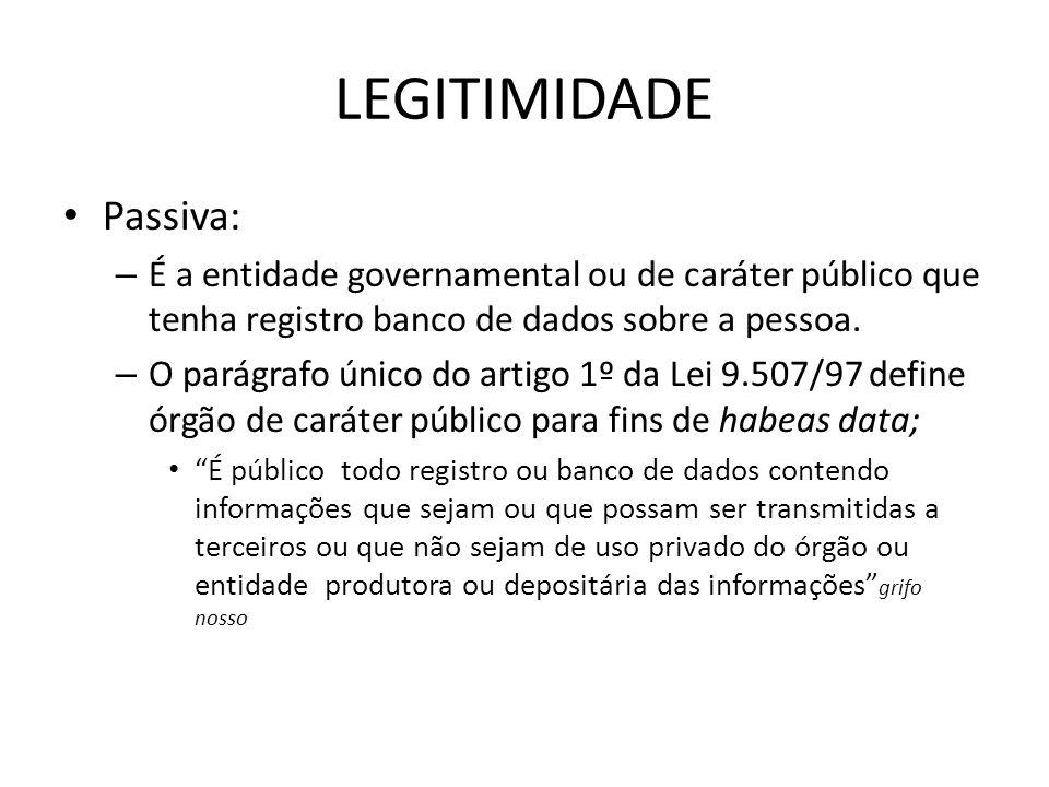 LEGITIMIDADE Passiva: – É a entidade governamental ou de caráter público que tenha registro banco de dados sobre a pessoa. – O parágrafo único do arti