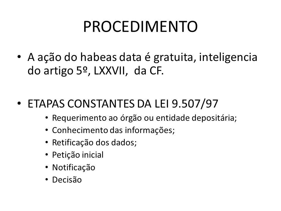 PROCEDIMENTO A ação do habeas data é gratuita, inteligencia do artigo 5º, LXXVII, da CF. ETAPAS CONSTANTES DA LEI 9.507/97 Requerimento ao órgão ou en
