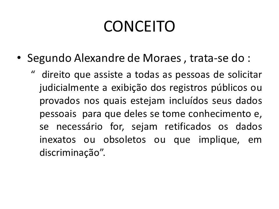 CONCEITO Segundo Alexandre de Moraes, trata-se do : direito que assiste a todas as pessoas de solicitar judicialmente a exibição dos registros público