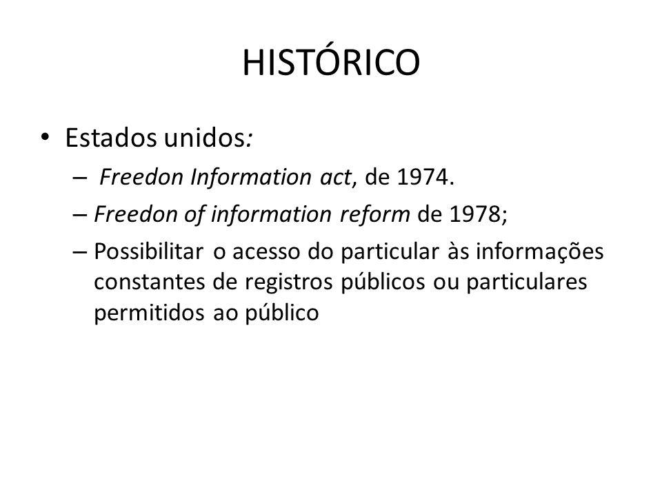 HISTÓRICO Estados unidos: – Freedon Information act, de 1974. – Freedon of information reform de 1978; – Possibilitar o acesso do particular às inform
