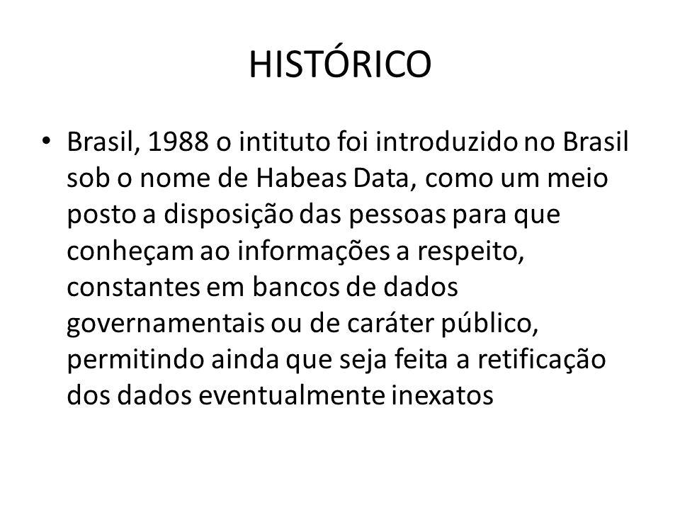HISTÓRICO Brasil, 1988 o intituto foi introduzido no Brasil sob o nome de Habeas Data, como um meio posto a disposição das pessoas para que conheçam a