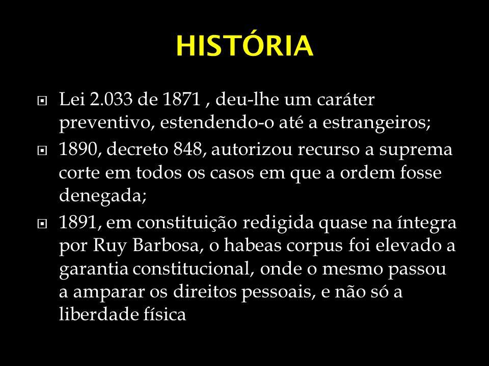 HISTÓRIA Lei 2.033 de 1871, deu-lhe um caráter preventivo, estendendo-o até a estrangeiros; 1890, decreto 848, autorizou recurso a suprema corte em to