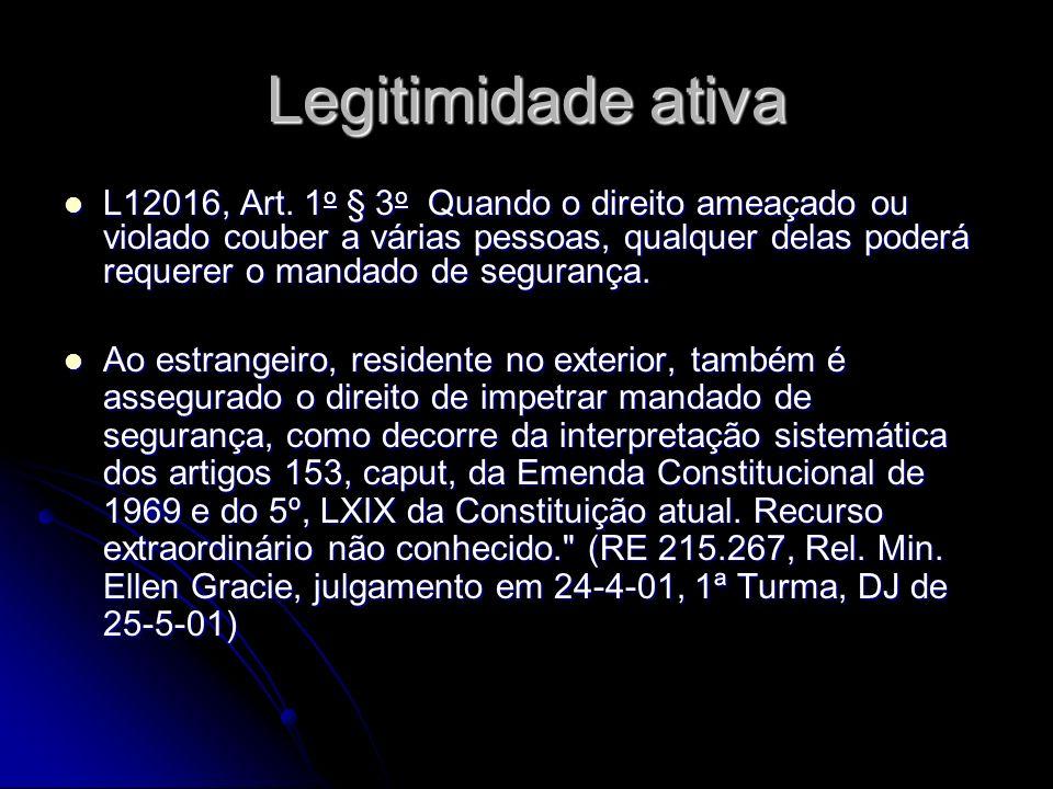 Legitimidade ativa L12016, Art.