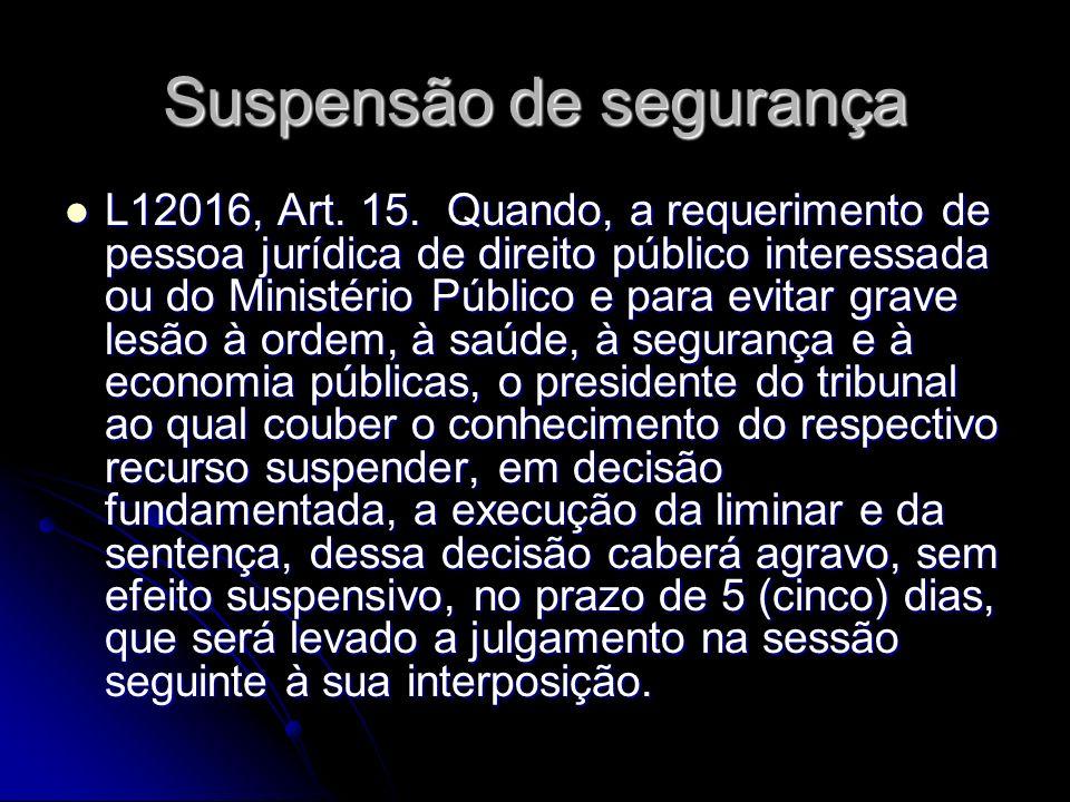 Suspensão de segurança L12016, Art.15.