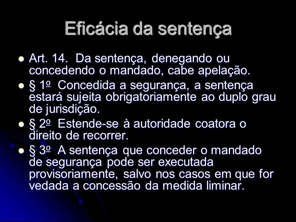 Eficácia da sentença Art.14. Da sentença, denegando ou concedendo o mandado, cabe apelação.