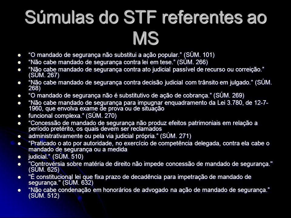 Súmulas do STF referentes ao MS O mandado de segurança não substitui a ação popular.