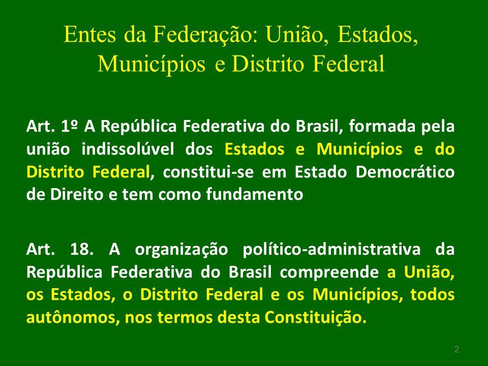 União A União é formada pela reunião dos entes integrantes da Federação.