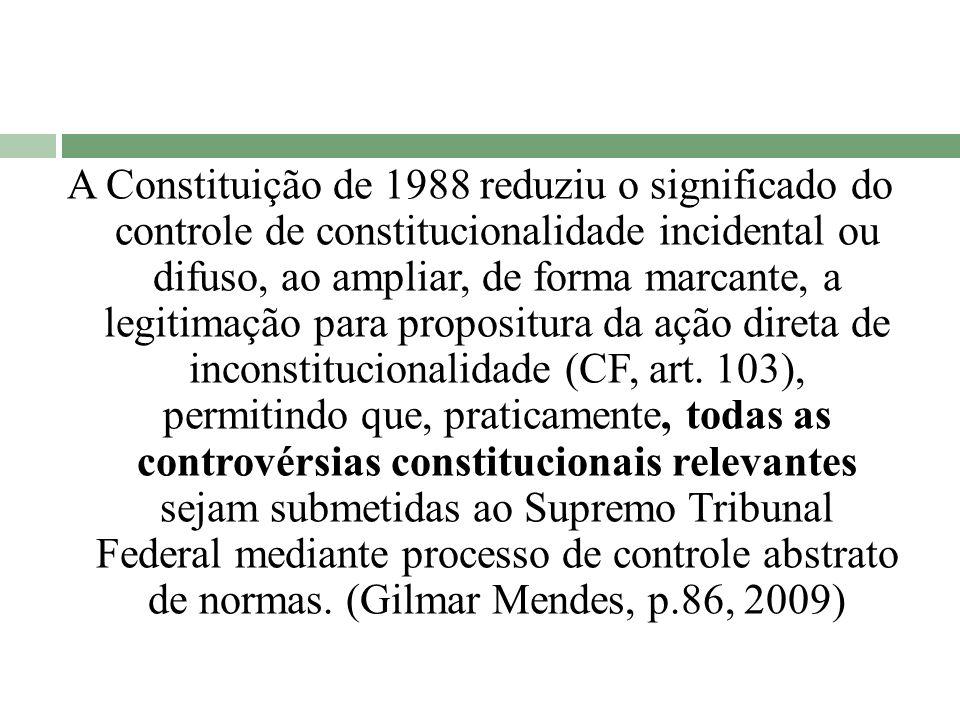 A Constituição de 1988 reduziu o significado do controle de constitucionalidade incidental ou difuso, ao ampliar, de forma marcante, a legitimação par