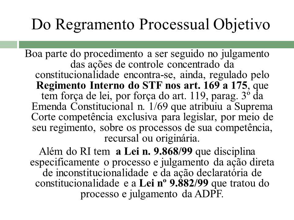 Do Regramento Processual Objetivo Boa parte do procedimento a ser seguido no julgamento das ações de controle concentrado da constitucionalidade encon