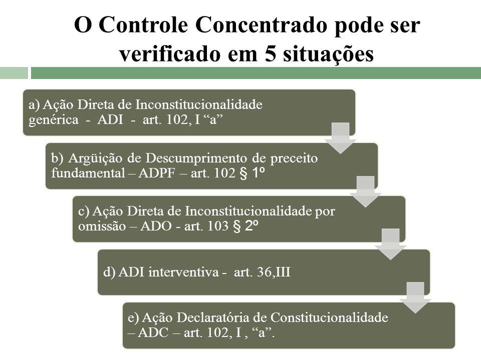 O Controle Concentrado pode ser verificado em 5 situações a) Ação Direta de Inconstitucionalidade genérica - ADI - art. 102, I a b) Argüição de Descum