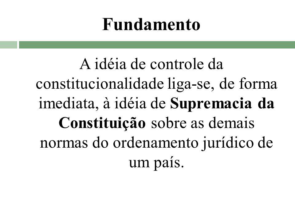 Fundamento A idéia de controle da constitucionalidade liga-se, de forma imediata, à idéia de Supremacia da Constituição sobre as demais normas do orde