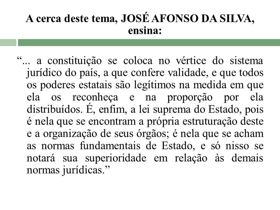 A cerca deste tema, JOSÉ AFONSO DA SILVA, ensina:... a constituição se coloca no vértice do sistema jurídico do país, a que confere validade, e que to