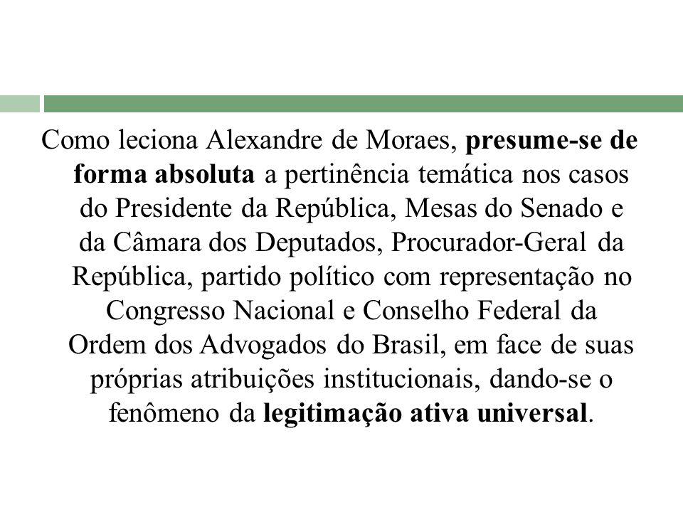 Como leciona Alexandre de Moraes, presume-se de forma absoluta a pertinência temática nos casos do Presidente da República, Mesas do Senado e da Câmar