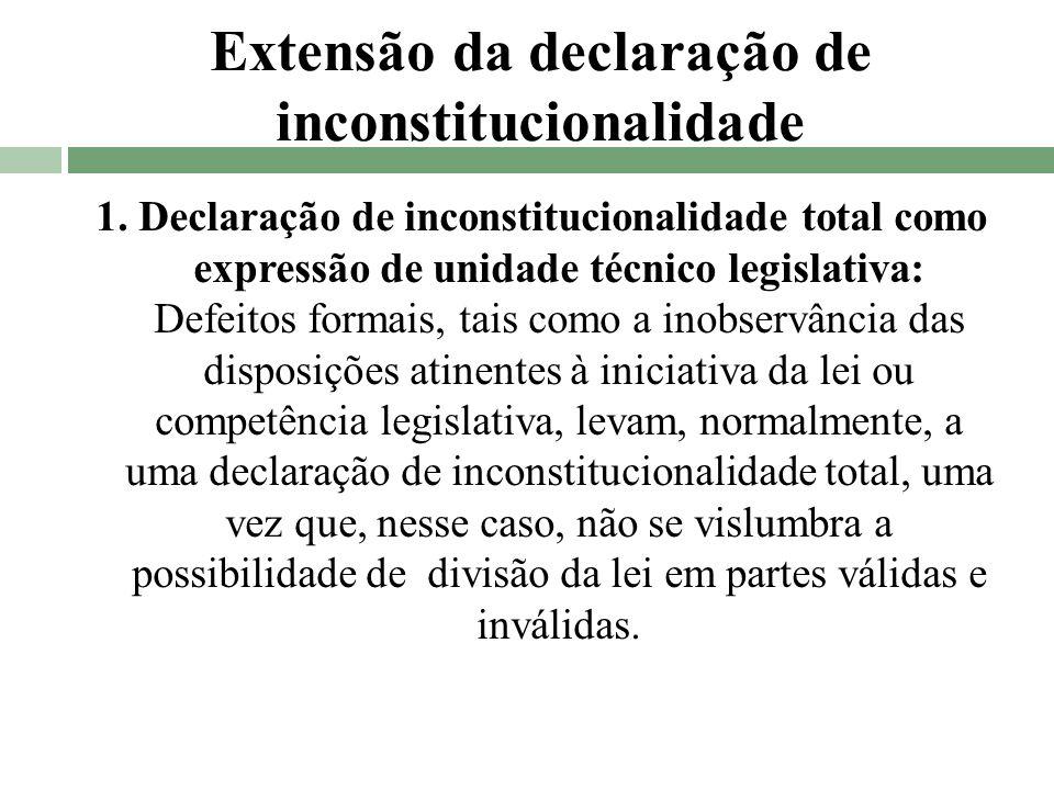 Extensão da declaração de inconstitucionalidade 1. Declaração de inconstitucionalidade total como expressão de unidade técnico legislativa: Defeitos f