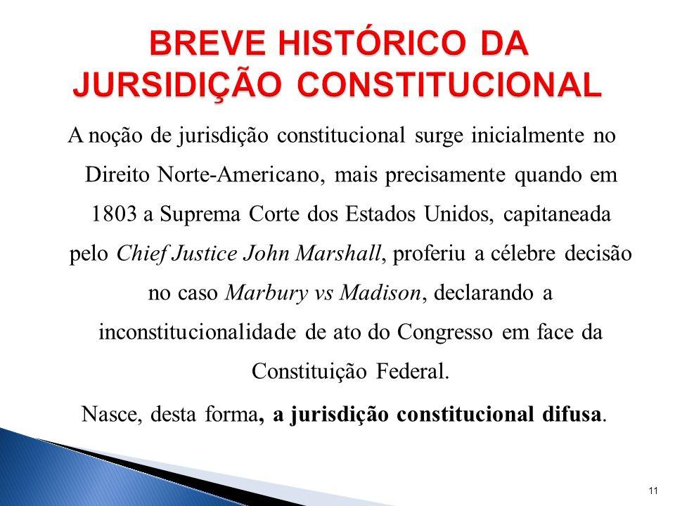 A noção de jurisdição constitucional surge inicialmente no Direito Norte-Americano, mais precisamente quando em 1803 a Suprema Corte dos Estados Unido