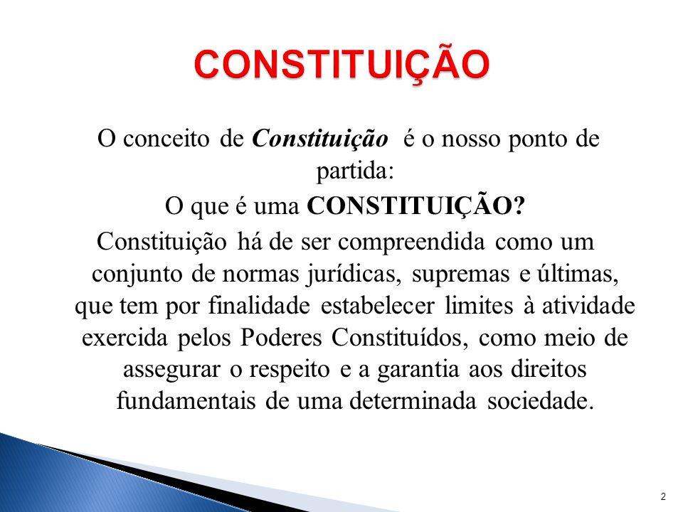 O conceito de Constituição é o nosso ponto de partida: O que é uma CONSTITUIÇÃO? Constituição há de ser compreendida como um conjunto de normas jurídi