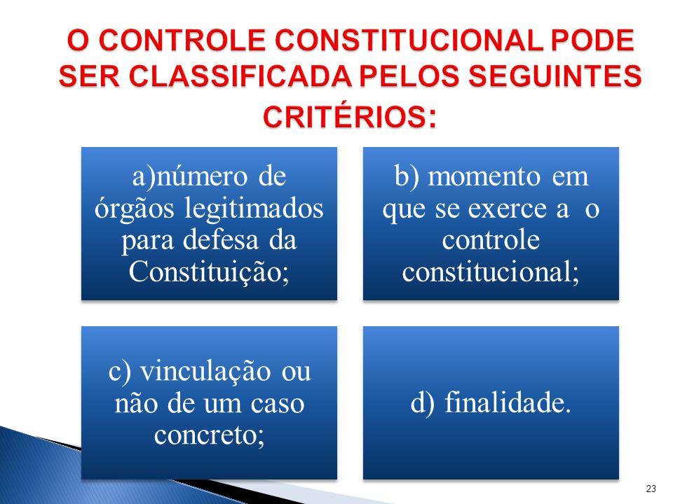 a)número de órgãos legitimados para defesa da Constituição; b) momento em que se exerce a o controle constitucional; c) vinculação ou não de um caso c