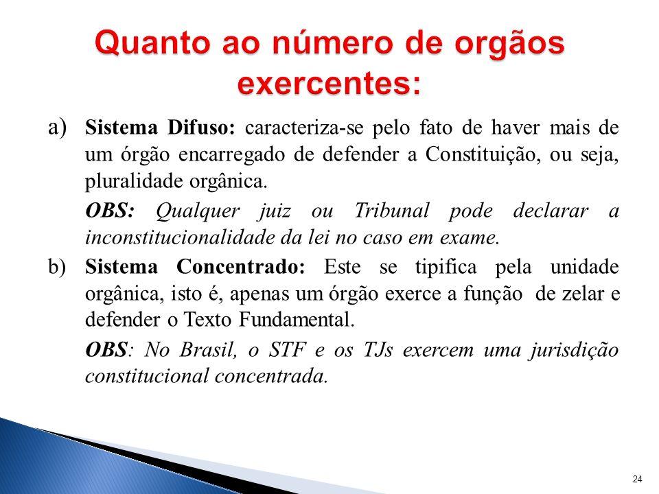 a) Sistema Difuso: caracteriza-se pelo fato de haver mais de um órgão encarregado de defender a Constituição, ou seja, pluralidade orgânica. OBS: Qual