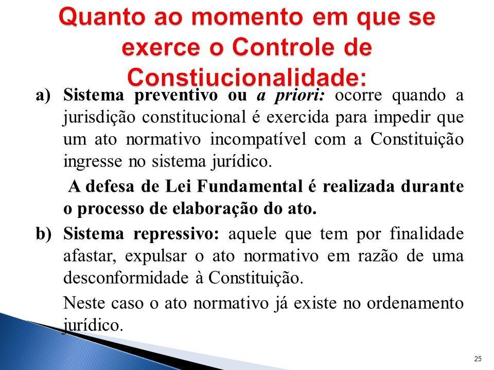 a) Sistema preventivo ou a priori: ocorre quando a jurisdição constitucional é exercida para impedir que um ato normativo incompatível com a Constitui