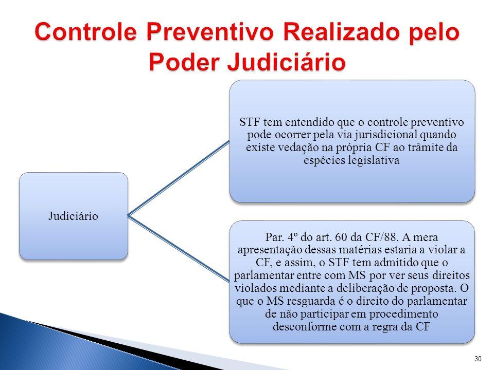 Judiciário STF tem entendido que o controle preventivo pode ocorrer pela via jurisdicional quando existe vedação na própria CF ao trâmite da espécies